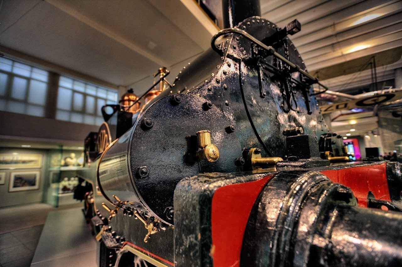 Closeup of an old steam locomotive