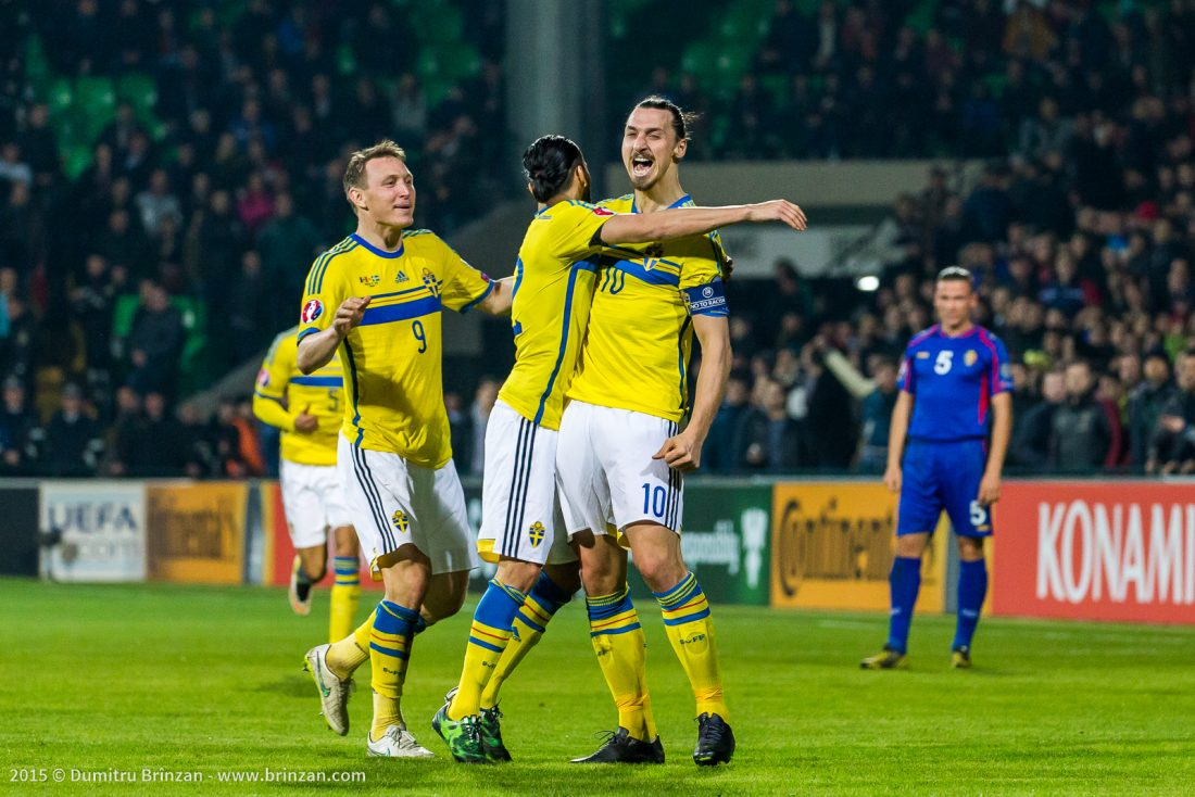 Photo of Zlatan Ibrahimović after scoring a goal against Moldova's National Team in 2015