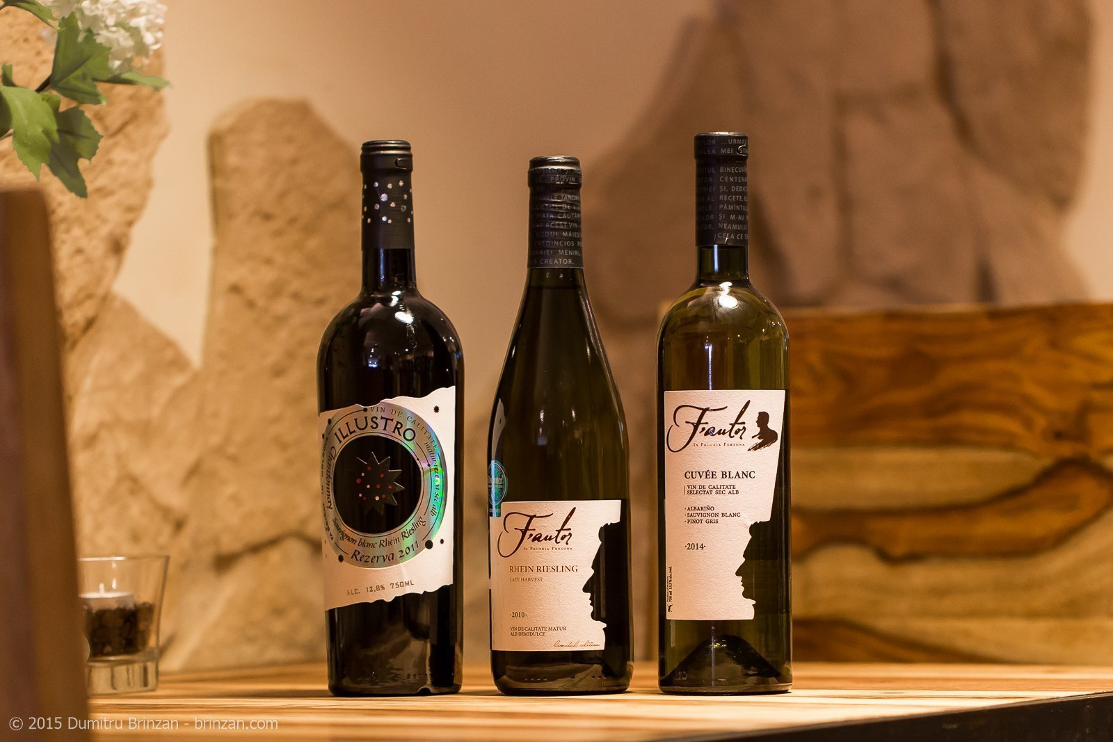 Bottles of F'autor Illustro 2011, F'autor Riesling Late Harvest 2010 and F'autor Cuvee Blanc 2014
