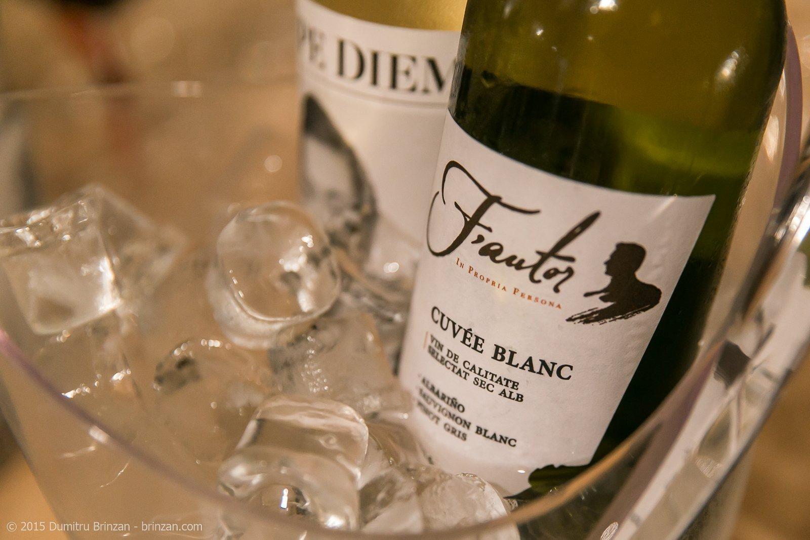 Bottles of Carpe Diem Feteasca Regala 2014 and F'autor Cuvee Blanc 2014 in Bucket of Ice