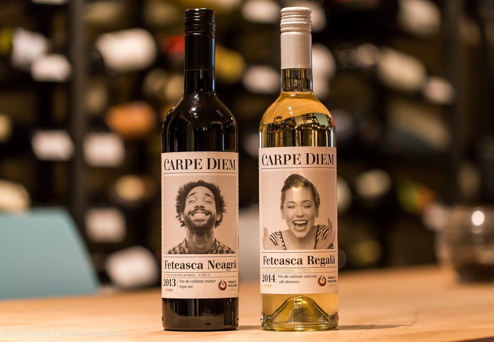 Bottles of Carpe Diem Feteasca Regala 2014 and Feteasca Neagra 2013