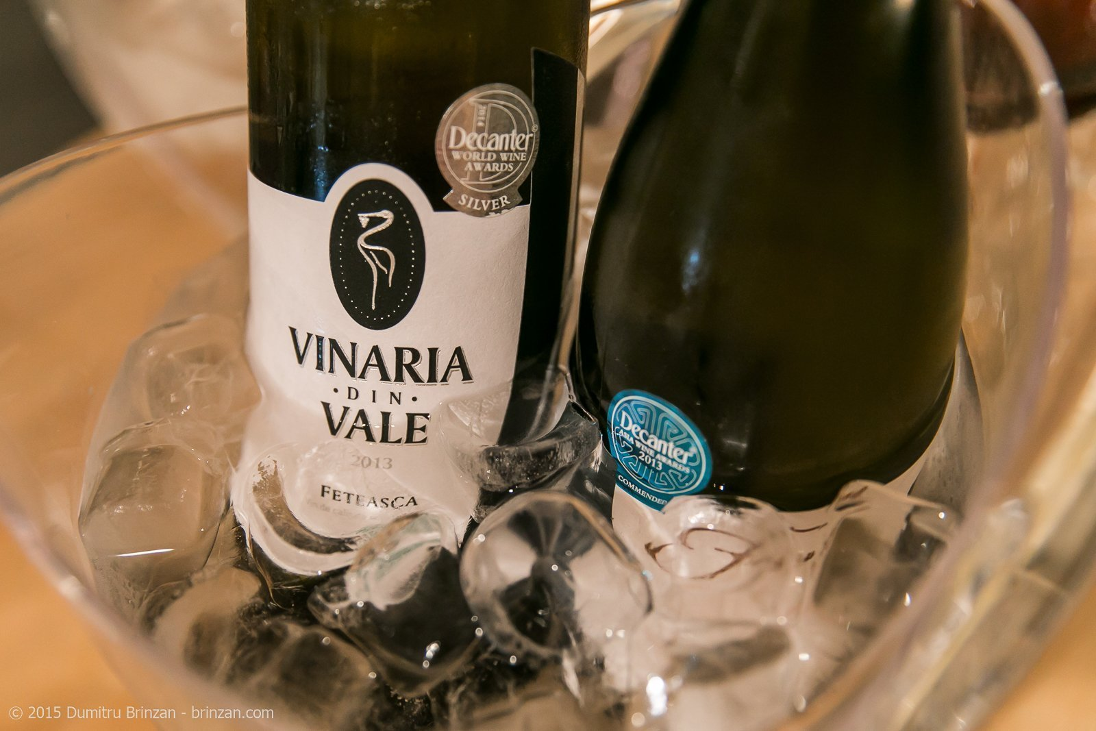 Bottles of Vinaria din Vale Feteasca Alba and F'autor Riesling 2010 in Bucket of Ice